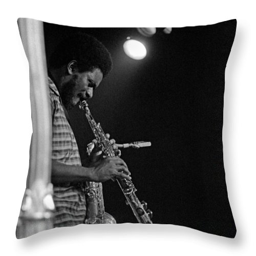 Pharoah Sanders Throw Pillow featuring the photograph Pharoah Sanders 1 by Lee Santa
