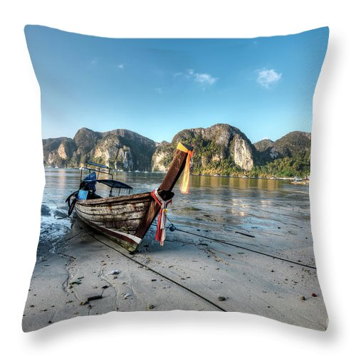 Boat Throw Pillow featuring the photograph Phi Phi Island by MotHaiBaPhoto Prints