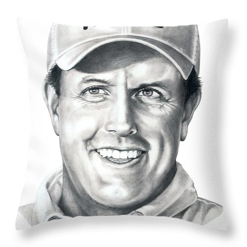 Phil Michelson Throw Pillow featuring the drawing Phil Michelson by Murphy Elliott