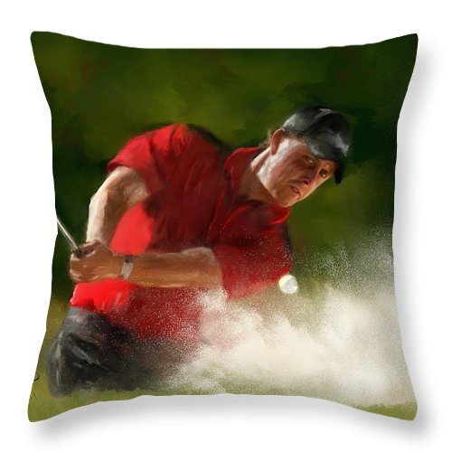 Golf Throw Pillow featuring the painting Phil Mickelson - Lefty In Action by Colleen Taylor