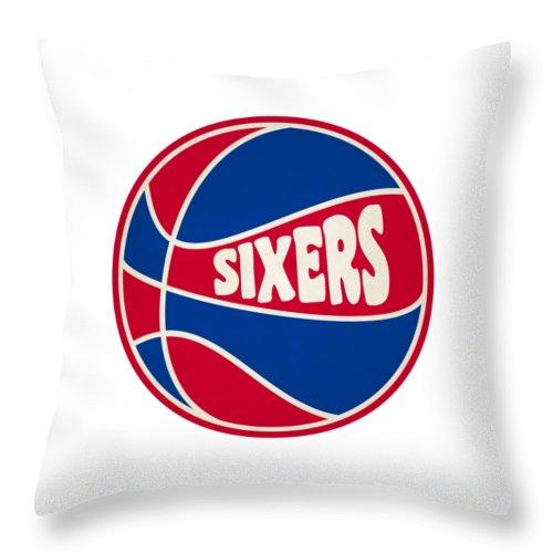 76ers Throw Pillow featuring the photograph Philadelphia 76ers Retro Shirt by Joe Hamilton