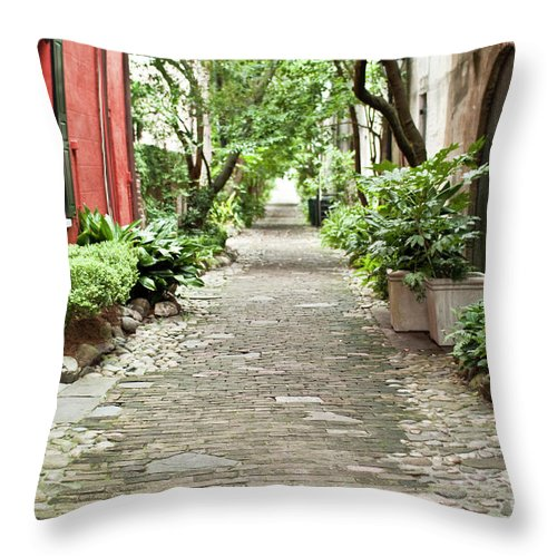 Philadelphia Alley Throw Pillow featuring the photograph Philadelphia Alley Charleston Pathway by Dustin K Ryan