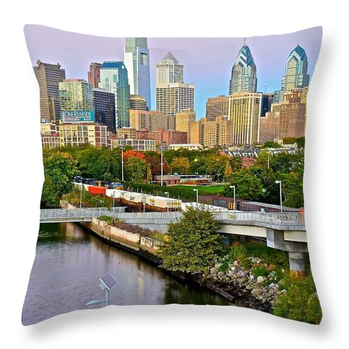 Philadelphia Throw Pillow featuring the photograph Philadelphia At Dusk by Frozen in Time Fine Art Photography