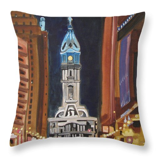 Landmarks Throw Pillow featuring the painting Philadelphia City Hall by Patricia Arroyo