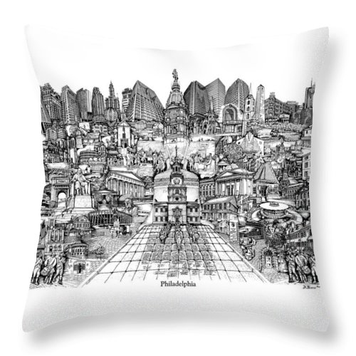 City Drawing Throw Pillow featuring the drawing Philadelphia by Dennis Bivens