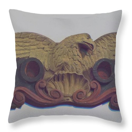 Throw Pillow featuring the drawing Philadelphia Fire Dept. Emblem by Robert Longacre