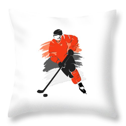 Flyers Throw Pillow featuring the photograph Philadelphia Flyers Player Shirt by Joe Hamilton