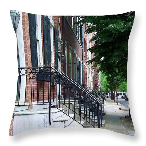 Architecture Throw Pillow featuring the photograph Philadelphia Neighborhood by Debbi Granruth