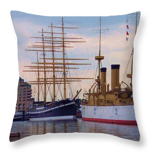 Philadelphia Throw Pillow featuring the photograph Philadelphia Waterfront Olympia by Debbi Granruth