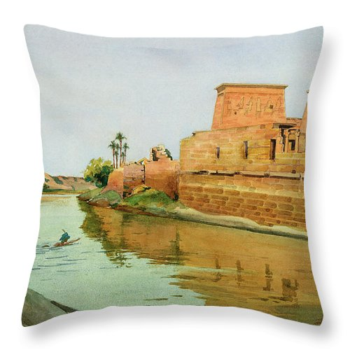 Temple Complex; River; 3rd Century Bc; Philae On The Nile Throw Pillow featuring the painting Philae On The Nile by Alexander West
