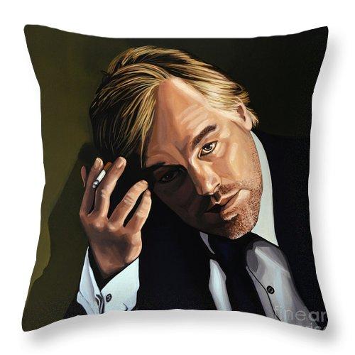 Philip Seymour Hoffman Throw Pillow featuring the painting Philip Seymour Hoffman by Paul Meijering