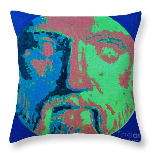Philosopher Throw Pillow featuring the painting Philosopher - Pythagoras by Ana Maria Edulescu