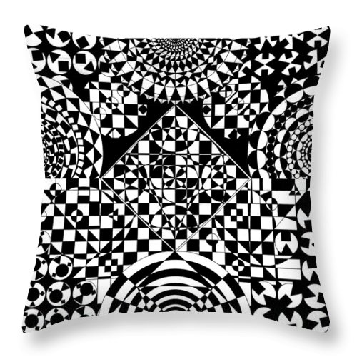 Philosopher Kaleidoscope Stone Square Circle Triangle Design Shapes Primitives 2d Pattern Math Throw Pillow featuring the drawing Philosophers Kaleidoscope by Priscilla Vogelbacher