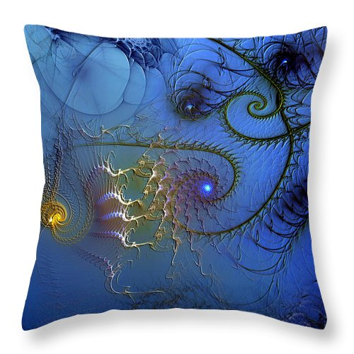 Abstract Throw Pillow featuring the digital art Philosophical Ventriloquism by Casey Kotas