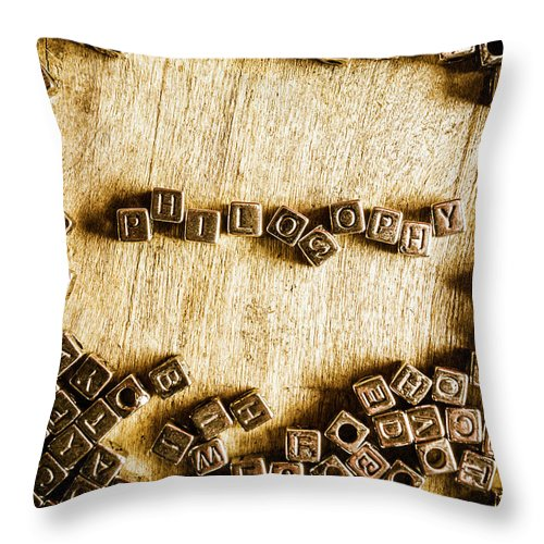 Philosophy Throw Pillow featuring the photograph Philosophy In Metal Cubes by Jorgo Photography - Wall Art Gallery
