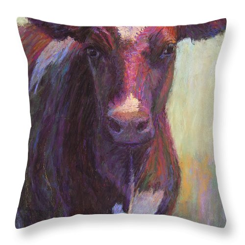 Cows Throw Pillow featuring the painting Phoebe Of Merry Mead Farm by Susan Williamson