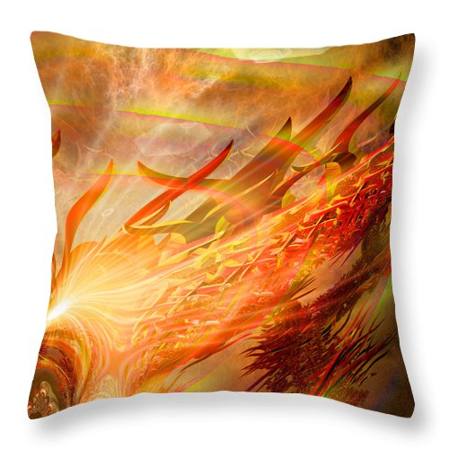 Eastern Throw Pillow featuring the digital art Phoenix by Michael Durst