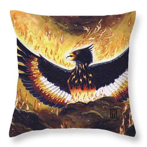 Phoenix Throw Pillow featuring the painting Phoenix Rising by Melissa A Benson