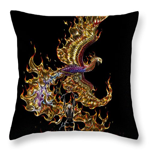 Phoenix Throw Pillow featuring the drawing Phoenix by Stanley Morrison