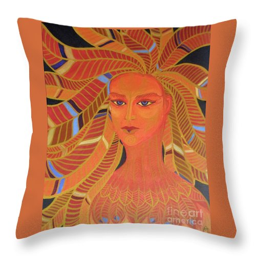 Portrait Throw Pillow featuring the painting Phoenix Woman by Melina Mel P