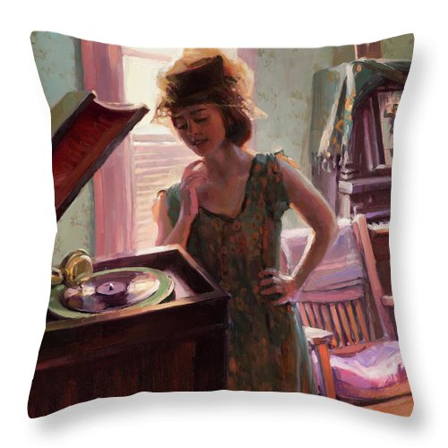 Nostalgia Throw Pillow featuring the painting Phonograph Days by Steve Henderson