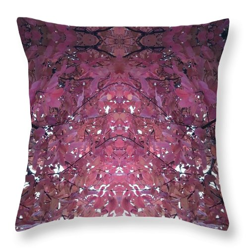 Autumn Throw Pillow featuring the photograph Photo 0800 Autumn Tree Leaves Fractal E1 Mid Top by Julia Woodman