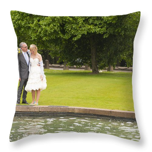 Katie & Steve's Wedding 22nd May 2015 City Hall Cardiff. All Photos The Copyright Of Jenny Potter. Throw Pillow featuring the photograph Photo 121 by Jenny Potter