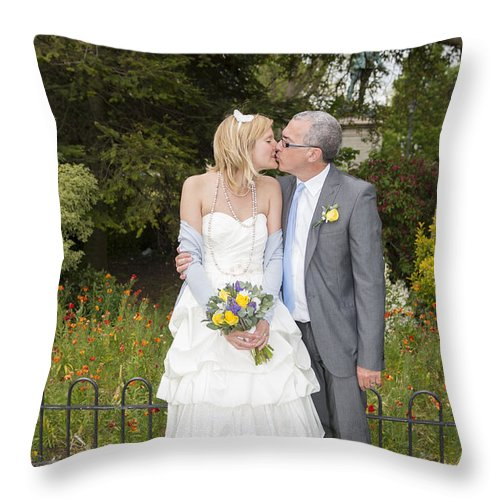 Katie & Steve's Wedding 22nd May 2015 City Hall Cardiff. All Photos The Copyright Of Jenny Potter. Throw Pillow featuring the photograph Photo 122 by Jenny Potter