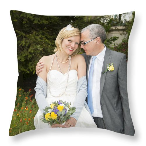 Katie & Steve's Wedding 22nd May 2015 City Hall Cardiff. All Photos The Copyright Of Jenny Potter. Throw Pillow featuring the photograph Photo 124 by Jenny Potter