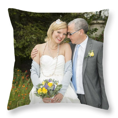 Katie & Steve's Wedding 22nd May 2015 City Hall Cardiff. All Photos The Copyright Of Jenny Potter. Throw Pillow featuring the photograph Photo 125 by Jenny Potter
