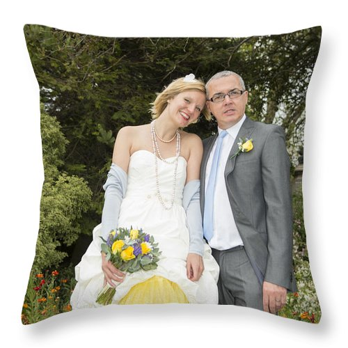 Katie & Steve's Wedding 22nd May 2015 City Hall Cardiff. All Photos The Copyright Of Jenny Potter. Throw Pillow featuring the photograph Photo 127 by Jenny Potter