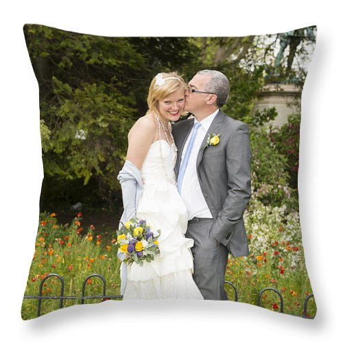 Katie & Steve's Wedding 22nd May 2015 City Hall Cardiff. All Photos The Copyright Of Jenny Potter. Throw Pillow featuring the photograph Photo 134 by Jenny Potter