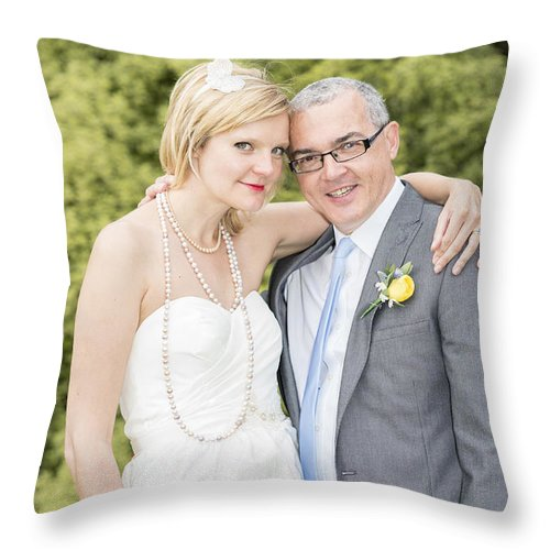 Katie & Steve's Wedding 22nd May 2015 City Hall Cardiff. All Photos The Copyright Of Jenny Potter. Throw Pillow featuring the photograph Photo 136 by Jenny Potter