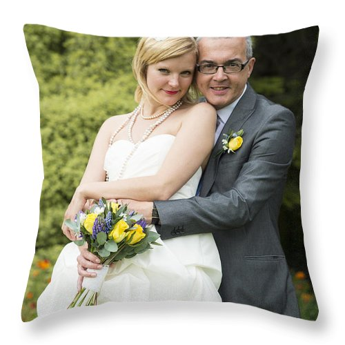 Katie & Steve's Wedding 22nd May 2015 City Hall Cardiff. All Photos The Copyright Of Jenny Potter. Throw Pillow featuring the photograph Photo 138 by Jenny Potter