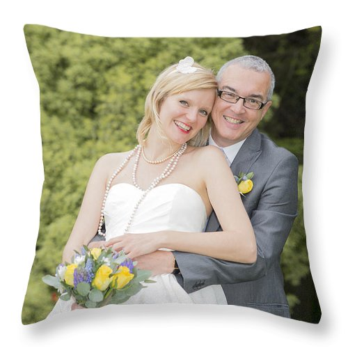 Katie & Steve's Wedding 22nd May 2015 City Hall Cardiff. All Photos The Copyright Of Jenny Potter. Throw Pillow featuring the photograph Photo 141 by Jenny Potter