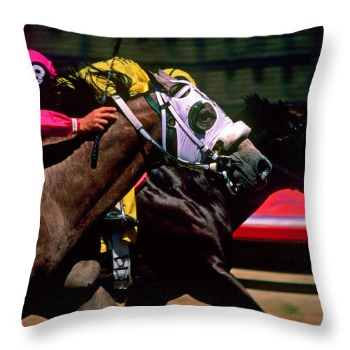 Horse Throw Pillow featuring the photograph Photo Finish by Kathy McClure