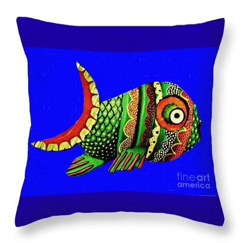 Fish Throw Pillow featuring the mixed media Phred Phish by Sarah Loft