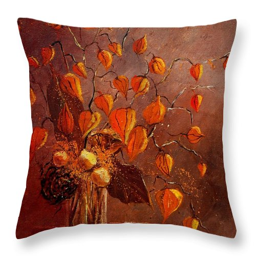Poppies Throw Pillow featuring the painting Physialis by Pol Ledent
