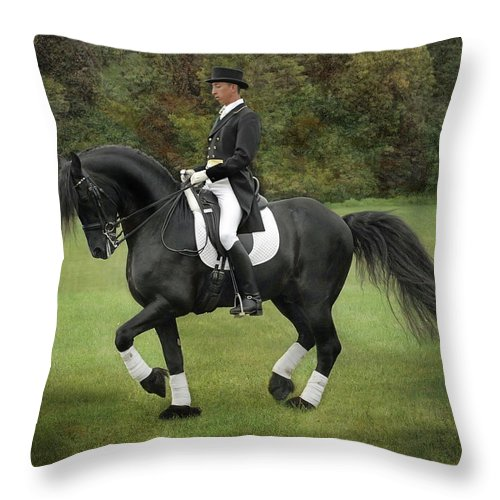 Dressage Throw Pillow featuring the photograph Piaffe by Fran J Scott