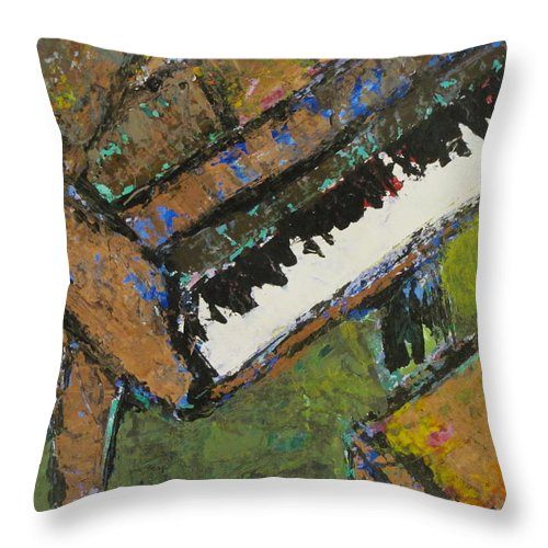 Piano Throw Pillow featuring the painting Piano Close Up 1 by Anita Burgermeister