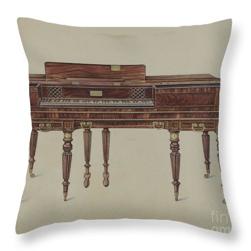 Throw Pillow featuring the drawing Piano Forte by Lawrence Phillips