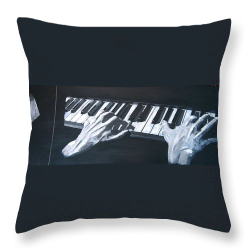 Metronome Throw Pillow featuring the painting Piano Hands Plus Metronome by Richard Le Page