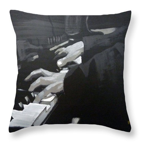 Piano Throw Pillow featuring the painting Piano Hands by Richard Le Page