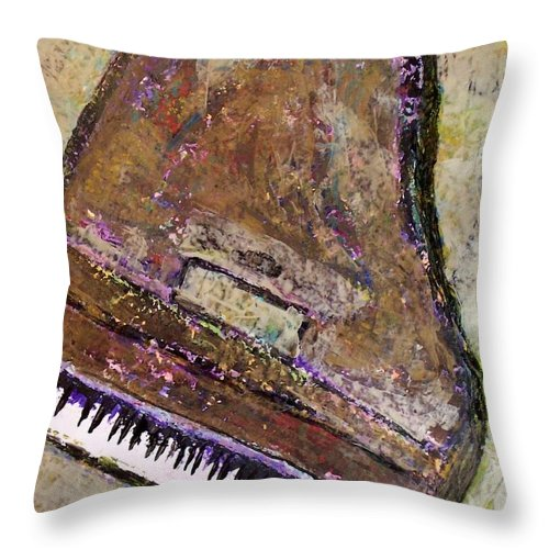 Piano Throw Pillow featuring the painting Piano In Bronze by Anita Burgermeister