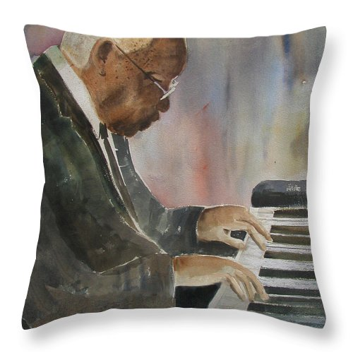 Pianist Throw Pillow featuring the painting Piano Jazz by Arline Wagner