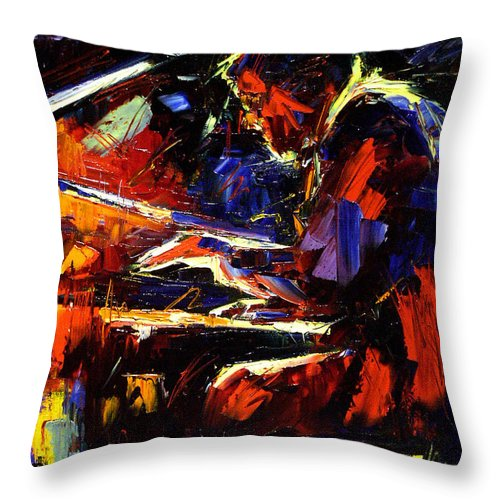 Jazz Throw Pillow featuring the painting Piano Man by Debra Hurd