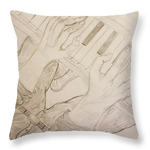 Piano Man Throw Pillow featuring the photograph Piano Man by Richard Howell