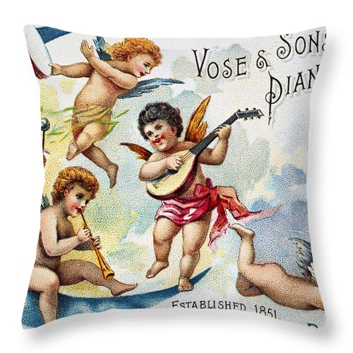 1880s Throw Pillow featuring the photograph Piano Trade Card, C1880 by Granger