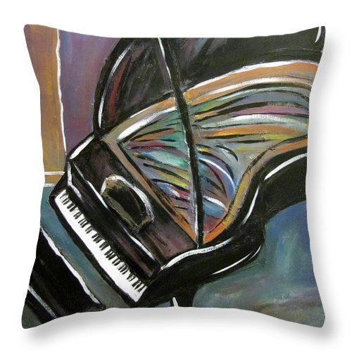 Impressionist Throw Pillow featuring the painting Piano With High Heel by Anita Burgermeister