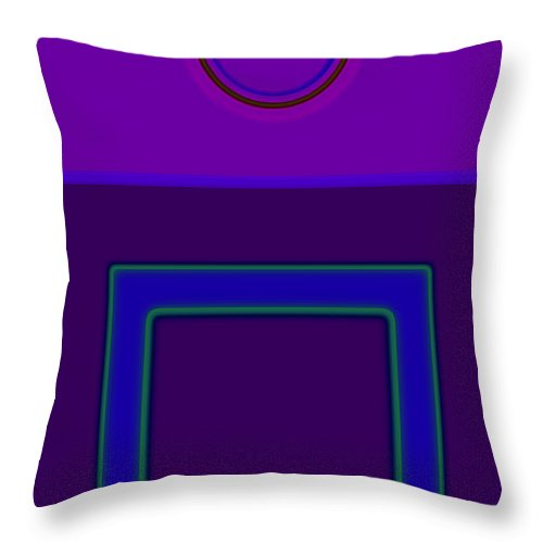 Classical Throw Pillow featuring the digital art Piazza Purple by Charles Stuart
